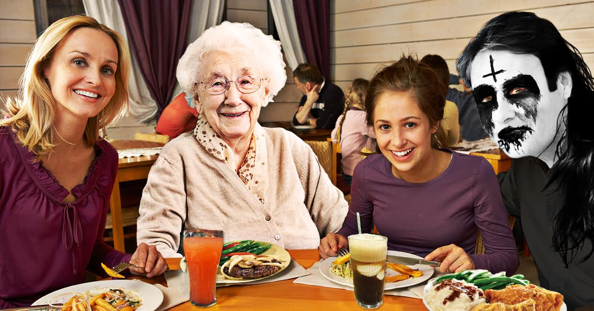 Black Metal Guitarist Spotted Celebrating Gammy's 87th Birthday at Old Country Buffet
