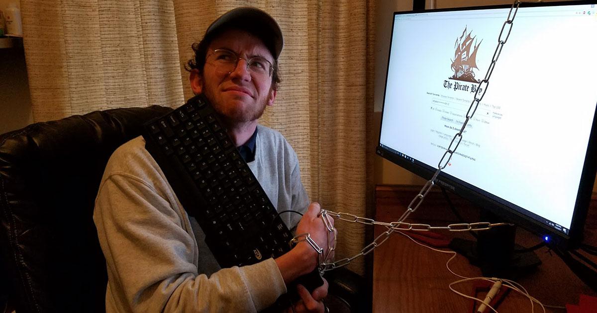 Internet Activist Chains Self to Computer