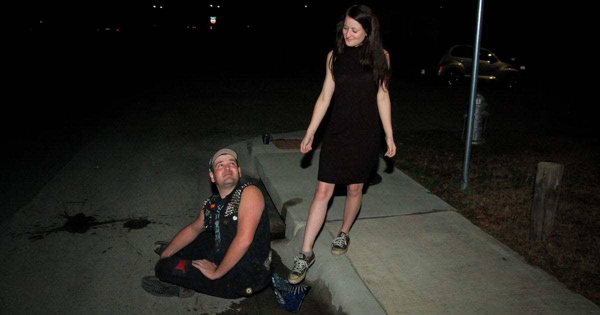 Old-Fashioned Crust Punk Lays Butt Flap Over Puddle for Date