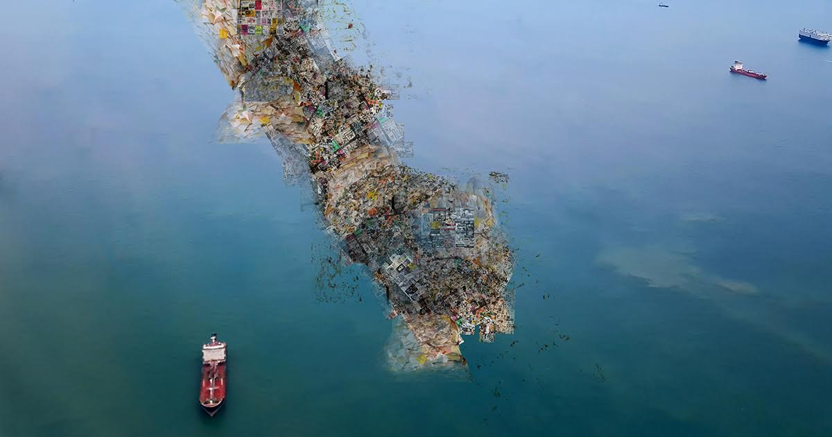 Three-Mile-Long Show Flyer Trash Heap Floating Near Coast of Long Island