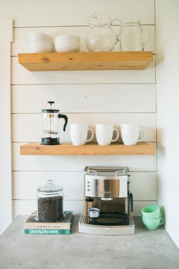 wood shelves kitchen food scale how to add fixer upper style your home open shelving the floating in s barndominium