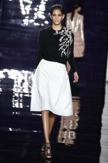 Black and white was a major component of Reem Acra's RTW F/W collection. I love the simpleness of the white skirt. Photo via Women's Wear Daily.