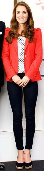 Wearing a Zara blazer during an Olympics event