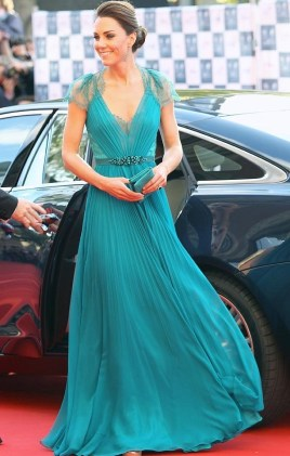 Wearing a custom Jenny Packham gown for a event during the 2012 Olympics