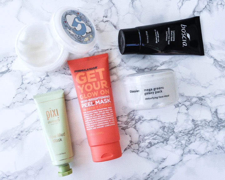 Facials Masks from Boscia, Pixi Beauty, Formula 10.0.6, and glossier   https://thehautemommie.com/5-face-masks-for-glowing-skin/