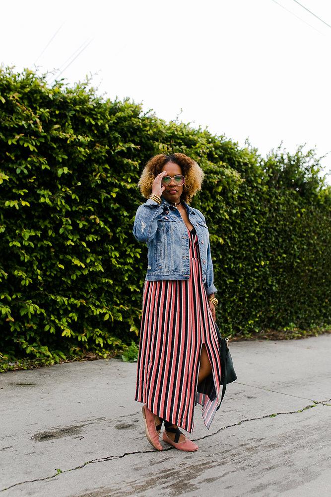Hautemommie wears striped pink dress from Zara