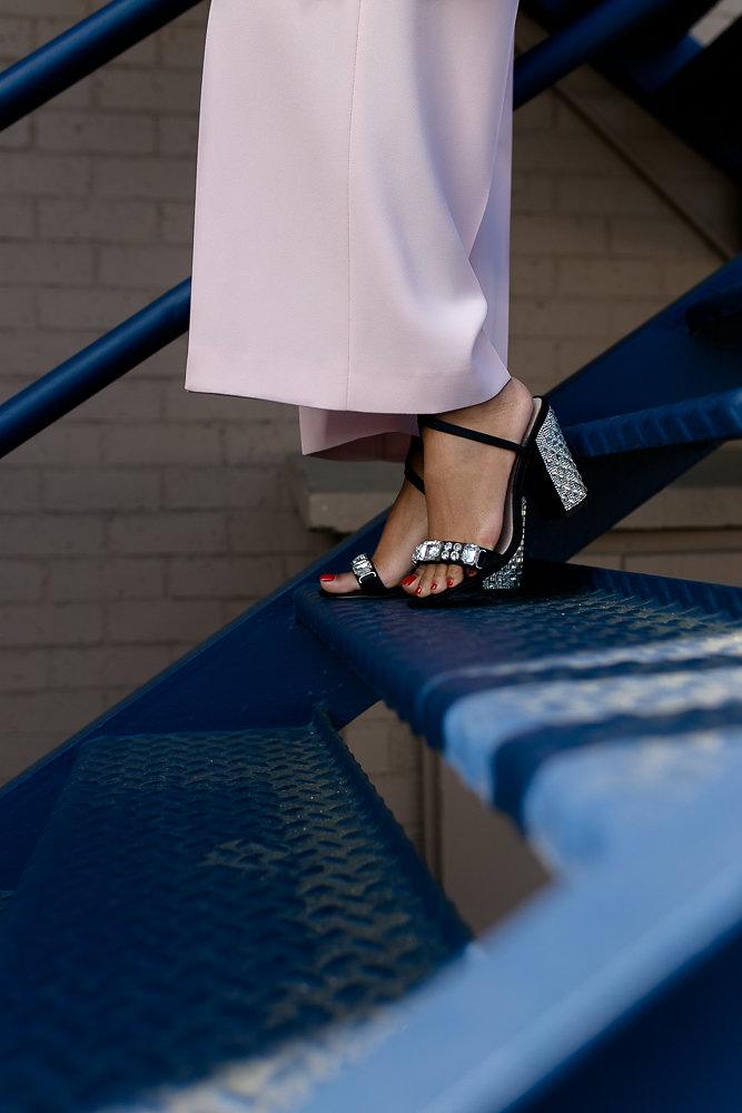 ASOS bedazzled heels paired with Zara pink culottes