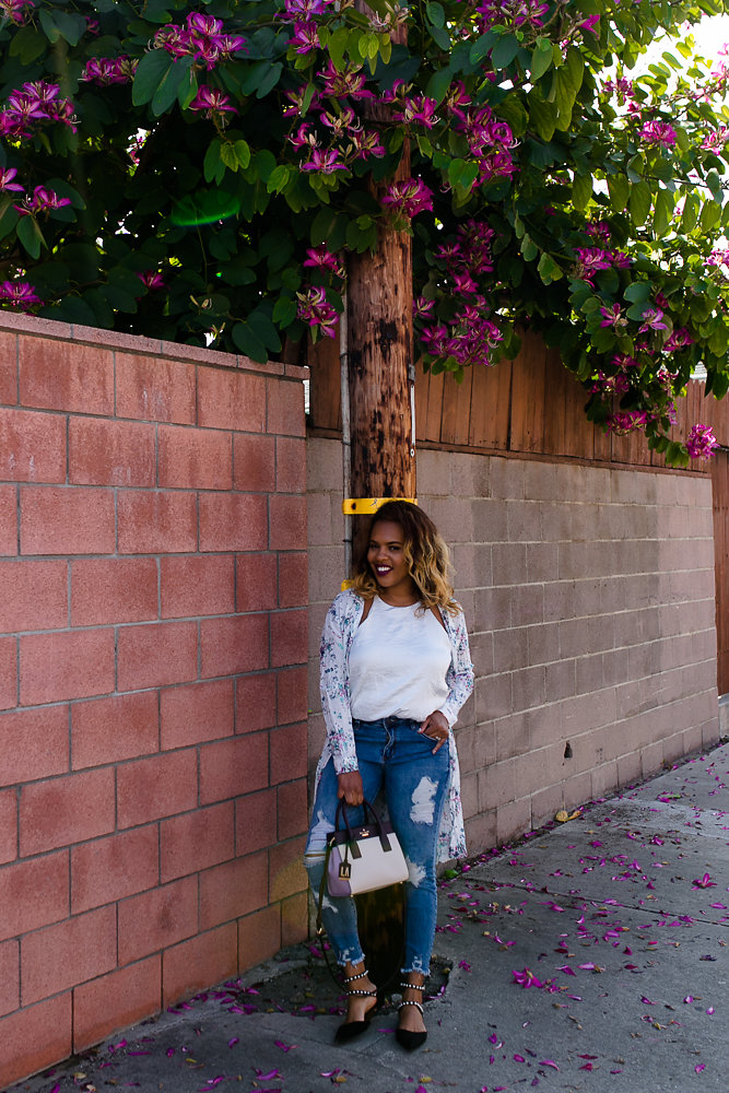 Flowers bloom as Hautemommie styles Zara and STS Blue denim looks for spring!