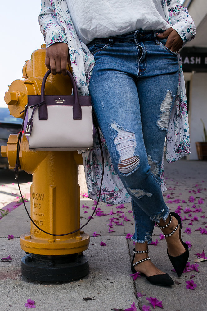 Blogger Hautemommie wears Kate Spade NY, STS Blue denim, and Zara flats