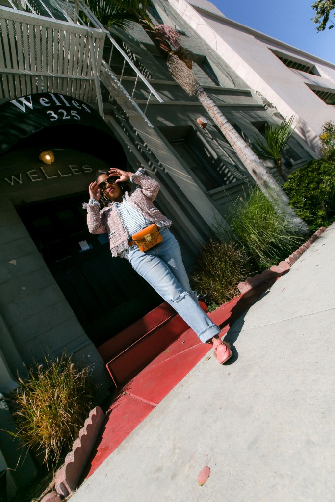 Leslie of The Hautemommie shares her secret to dressing for Fall weather in LA.