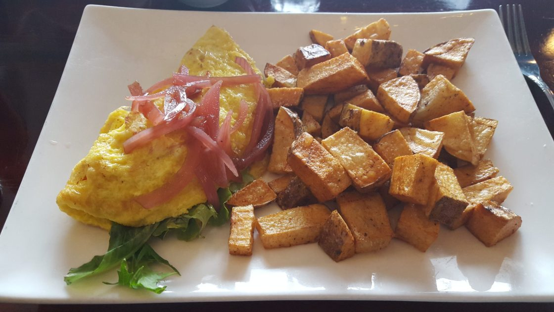 crawfish omelet with potatoes at Inspiration Kitchens