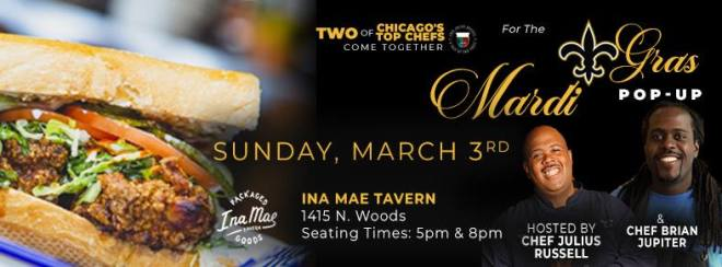 flyer of Mardi Gras event at Ina Mae Tavern in Chicago as seen in the Weekend Seekers Guide of Things to Do in Chicago Feb 28th through March 3rd on TheHauteSeeker.com