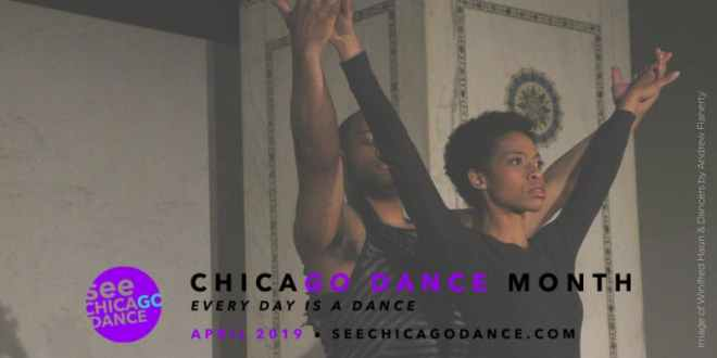 two African American dancers in a flyer for Chicago dance month by See Chicago Dance as featured in Chicago April 2019 Events Guide by The Haute Seeker