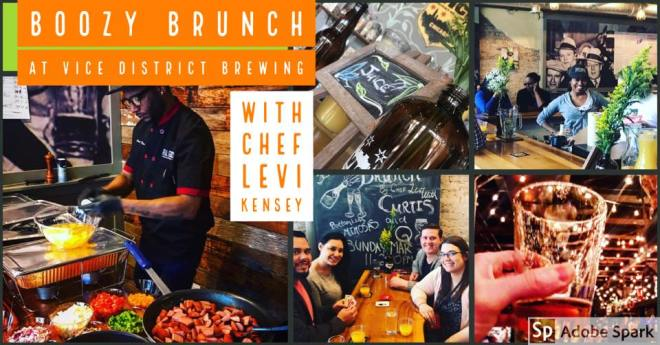 Boozy Brunch flyer hosted by Vice District Brewery in Chicago featured in the weekend seekers guide of things to do in chicago by the haute seeker