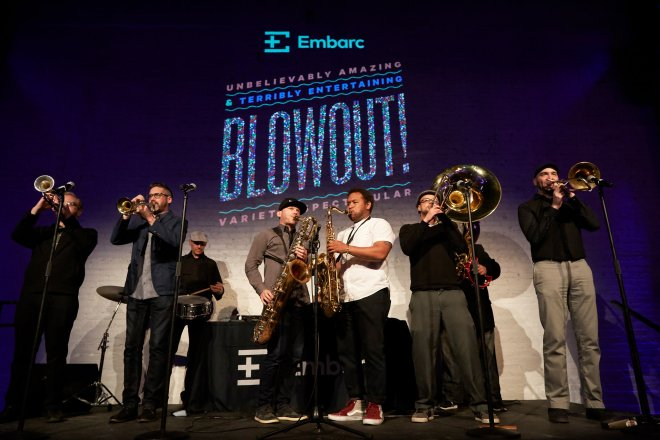 Band Playing Instruments at Embarc Blowout Variety Showcase Chicago 2019-featured on The Haute Seeker