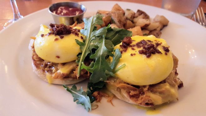 Eggs Benedict at Pl-zen in Chicago as featured in The Haute Seeker Bottomless Brunch Guide