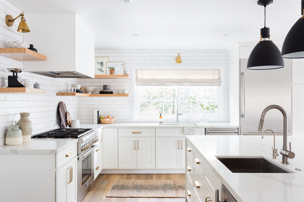 California Kitchen Remodel With Subway Tile Open Shelving Haven