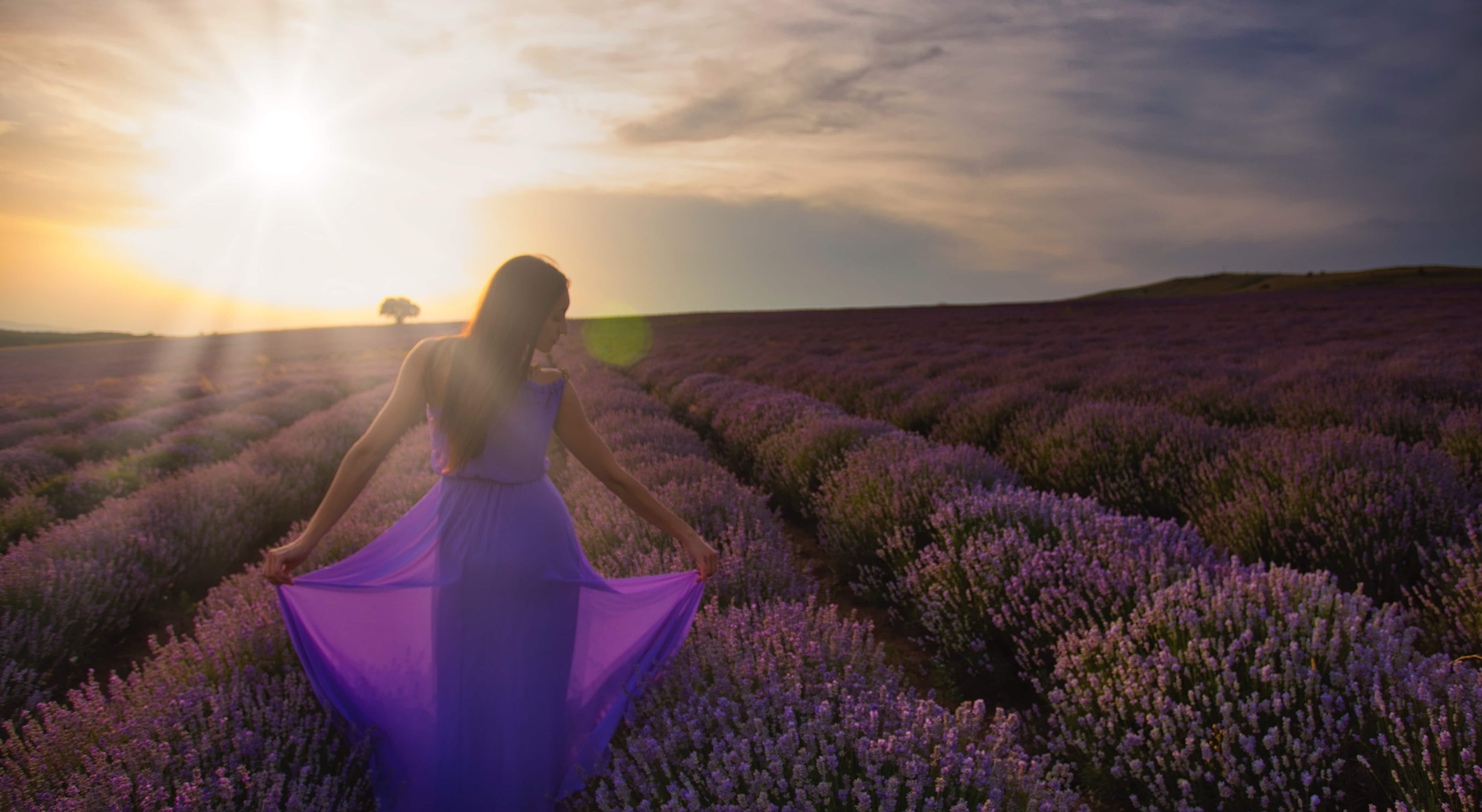 woman in purple dress standing in lavender field