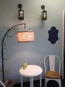 table, chair, and lamp at the haven shoppe