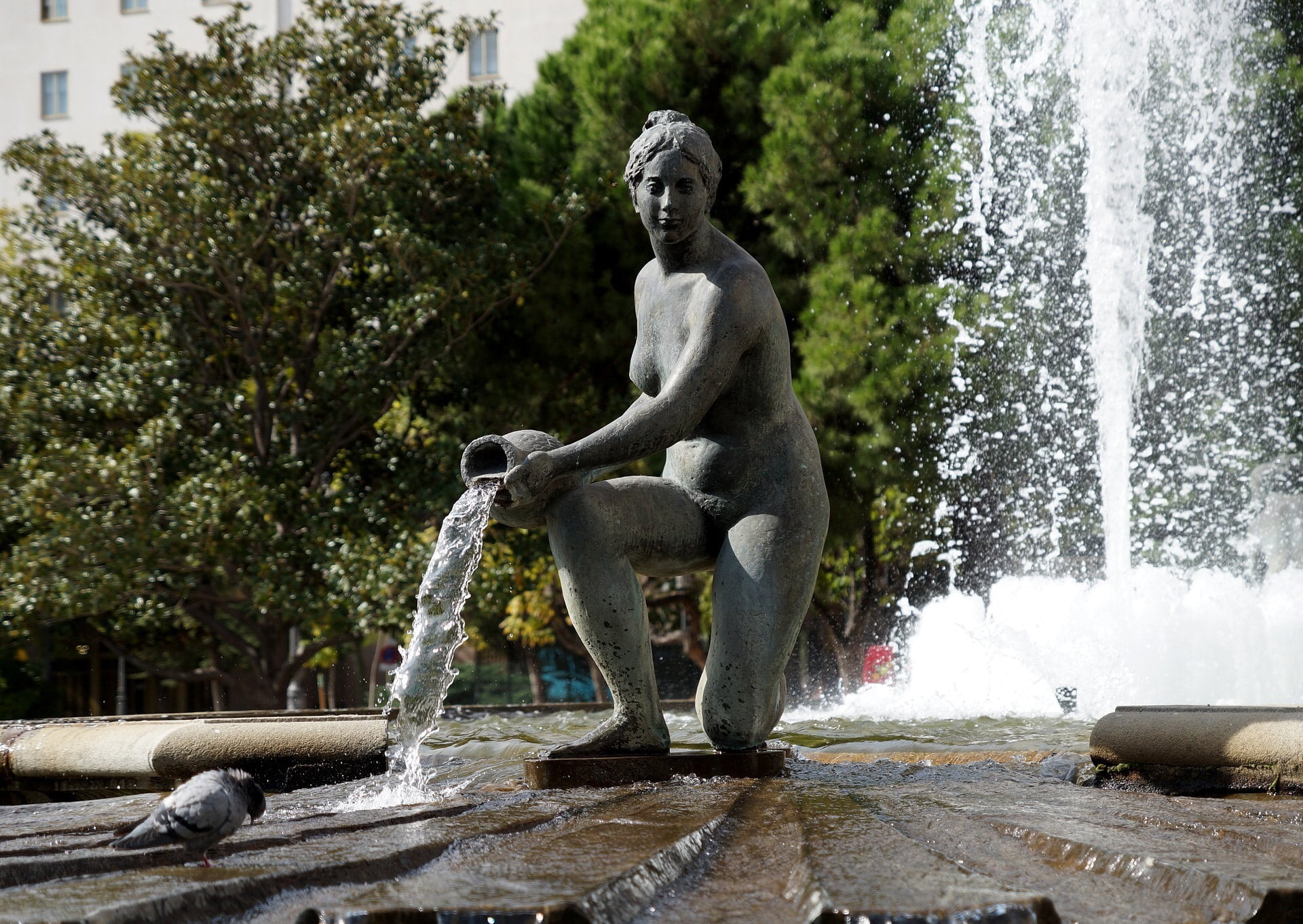 fountain of a woman pouring water