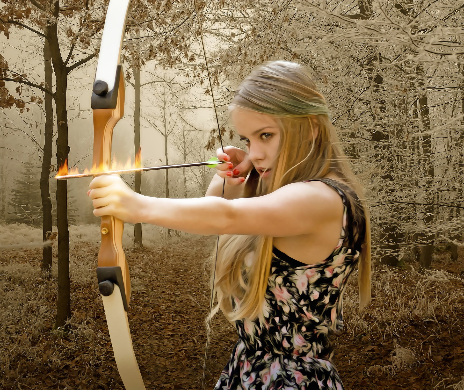woman holding bow and flaming arrow