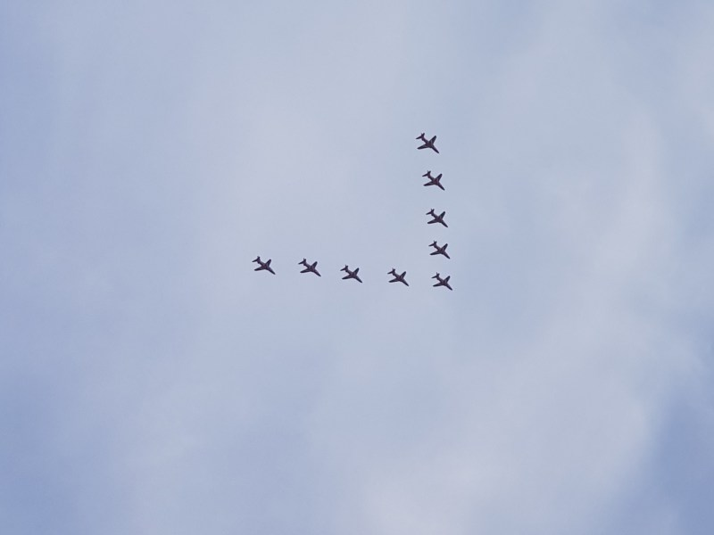 the amazing red arrows on ve day