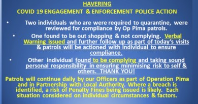 Operation Pima-Havering Covid 19 engagement & enforcement police action.