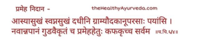 Prameh nidan ,आस्यासुखं स्वप्नसुखं दधीनि ग्राम्यौदकानूपरसाः पयांसि । नवान्नपानं गुडवैकृतं च प्रमेहहेतुः कफकृच्च सर्वम ॥च.चि.६/४॥ ThehealthyAyurveda.com