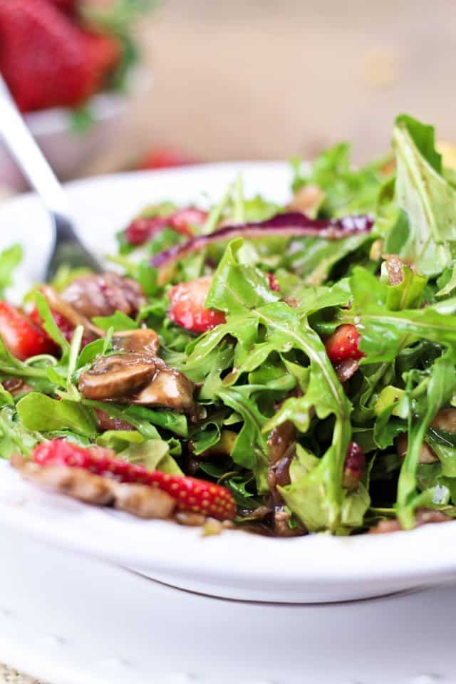 strawberry arugula and grilled halloumi salad by sonia the healthy