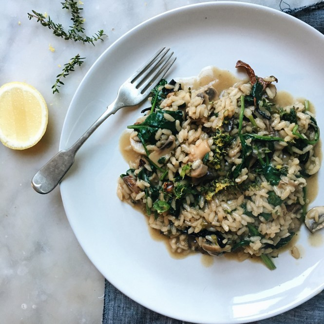 Mushroom, Spinach, Lemon and Thyme Risotto