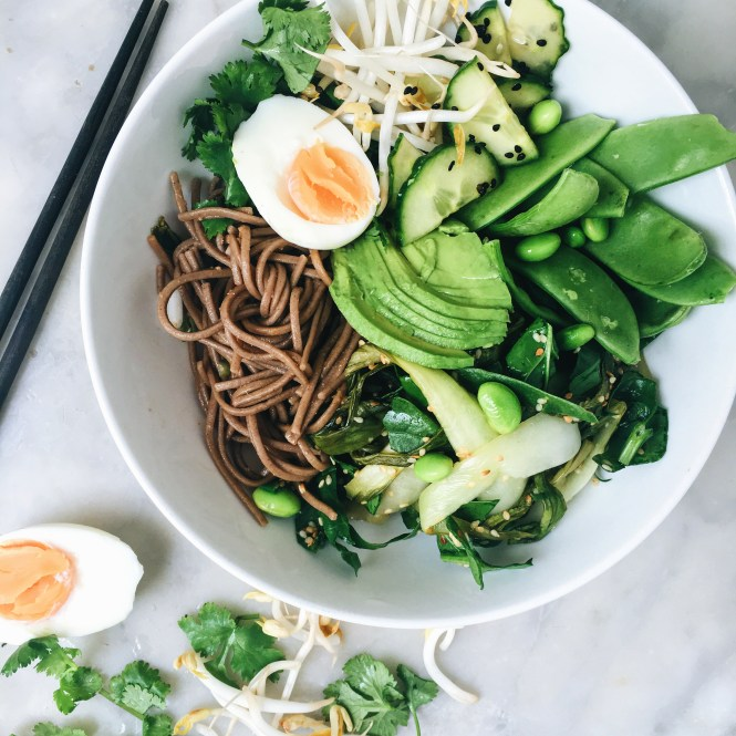 GREEN GODDESS NOODLE BOWL WITH GINGER MISO DRESSING 1