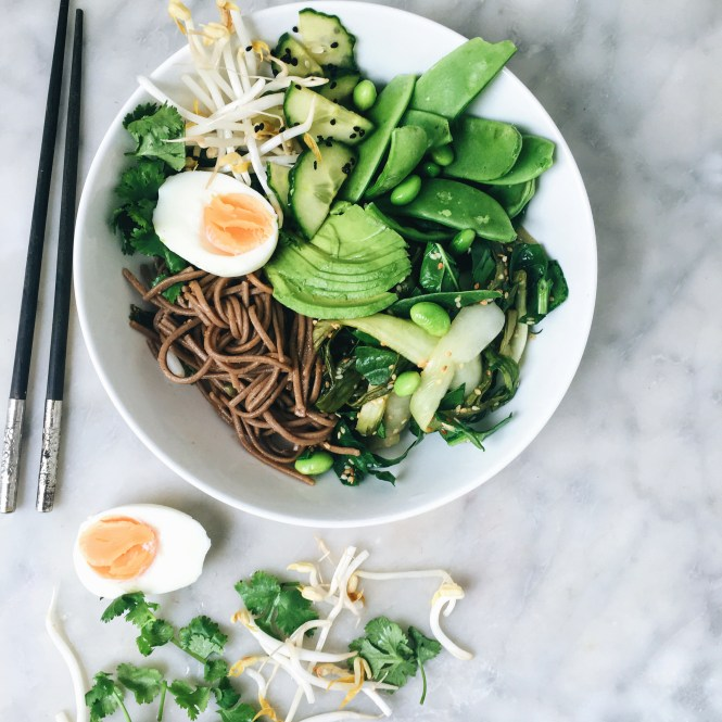 GREEN GODDESS NOODLE BOWL WITH GINGER MISO DRESSING