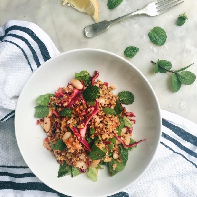 Mixed grain bowl with gochujang dressing 4