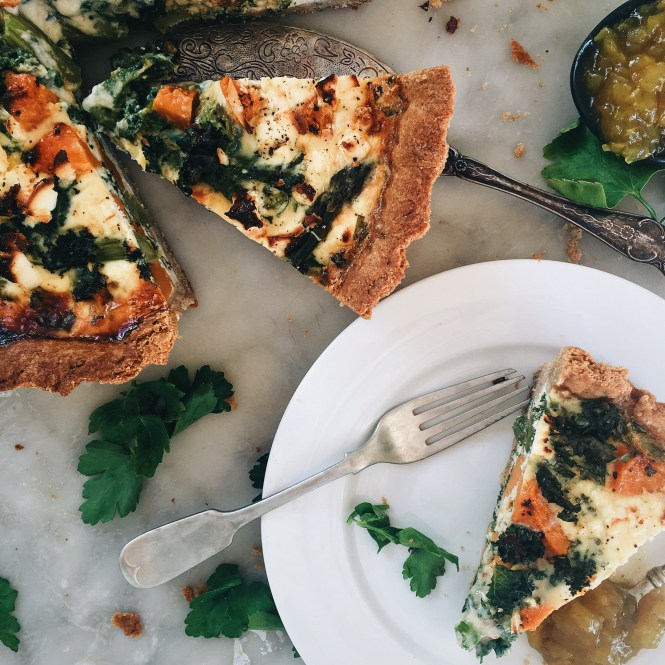 PUMPKIN, ASPARAGUS AND KALE QUICHE WITH FETA AND SPELT PASTRY 4