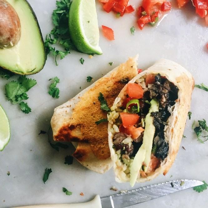 Mushroom and avocado burrito 2