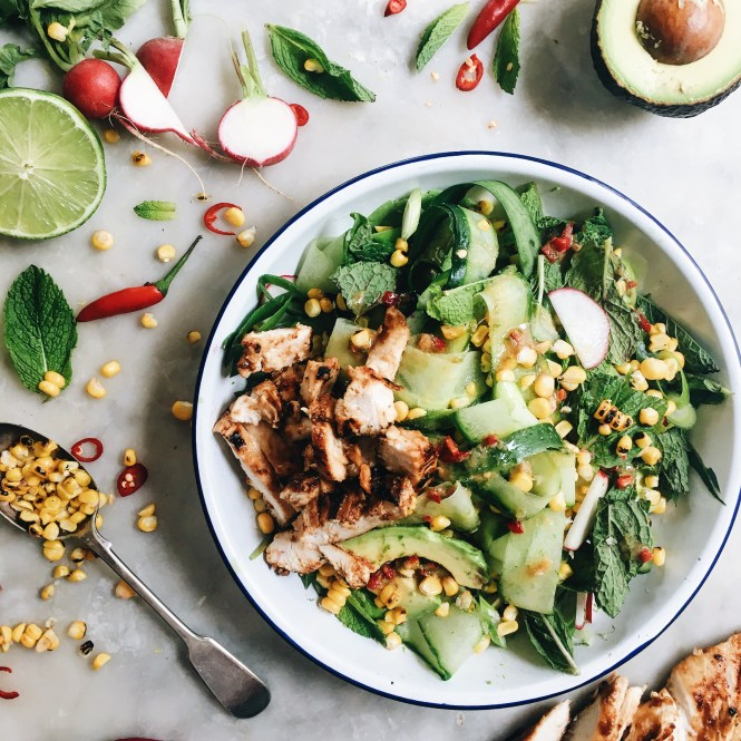 CUCUMBER, CORN AND AVOCADO SALAD WITH MISO MARINATED CHICKEN 5