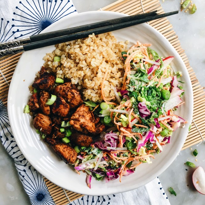 YAKITORI CHICKEN BOWLS WITH JAPANESE SLAW 4