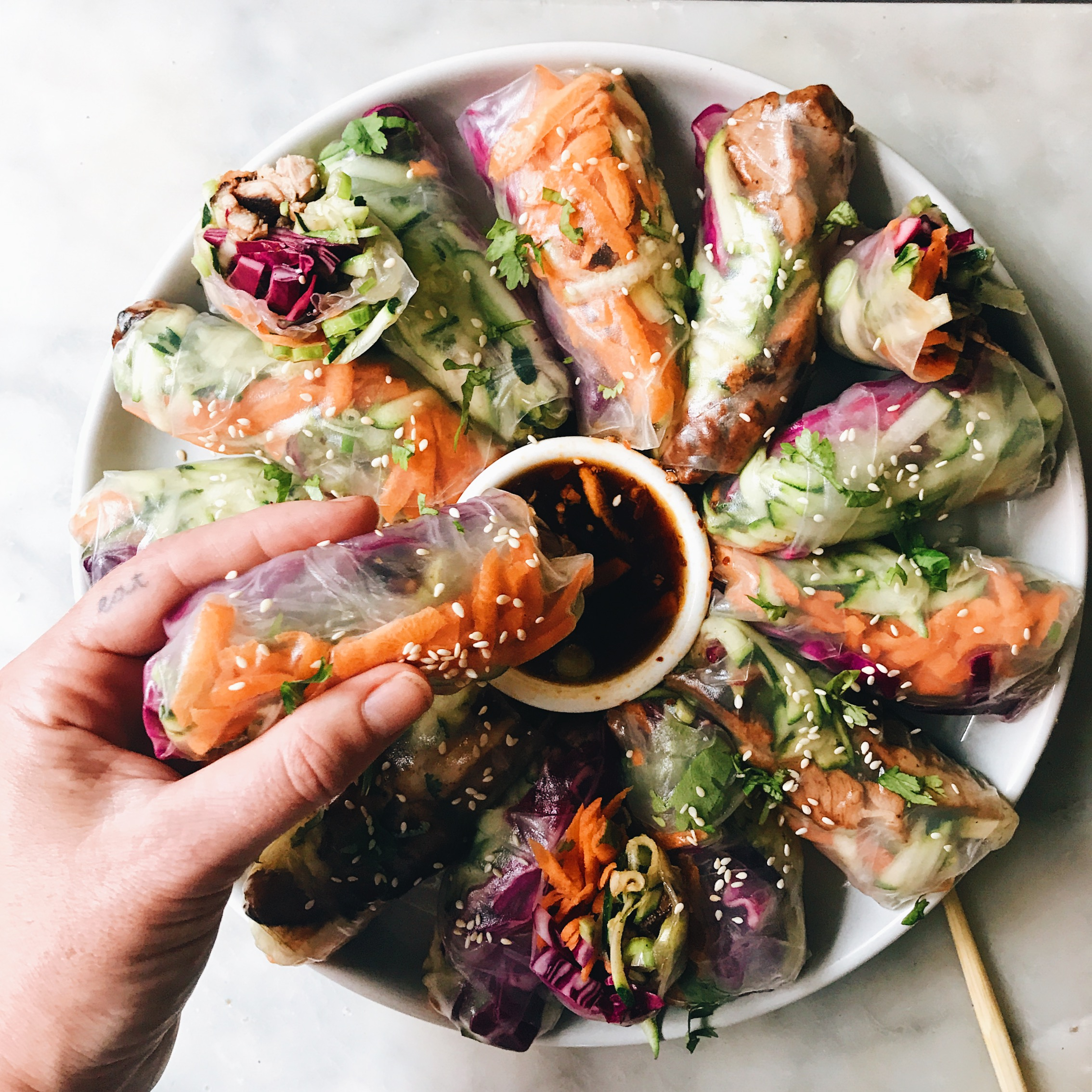 Ginger And Tamari Chicken Rice Paper Rolls The Healthy Hunter