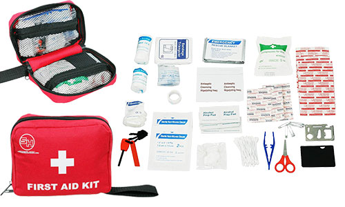 First Aid Kit, Emergency Survival Bag for Hiking with 105 Pieces