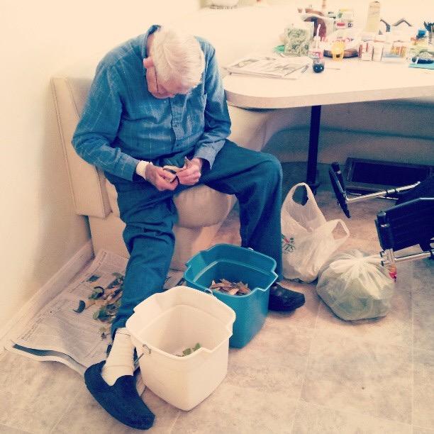 My grandpa shelling beans