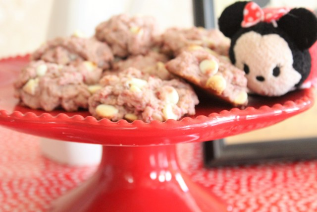 Minnie Mouse Cookies - Inspired by Minnie's polka dotted fashion, these are healthy raspberry white chocolate cookies - easy to bake cookies, healthy cookies, gluten-free cookies.