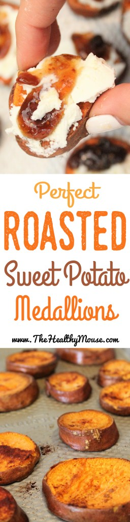 Perfect Roasted Sweet Potato Medallions - Easy appetizer, healthy appetizer, Paleo appetizer, vegetarian appetizer. The best way to eat easy roasted sweet potatoes!