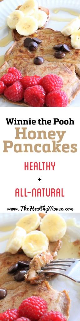 Winnie the Pooh Honey Pancakes - in celebration of National Winnie the Pooh day, I made these honey pancakes ! Healthy pancakes, whole wheat pancakes, easy pancakes, Disney breakfast