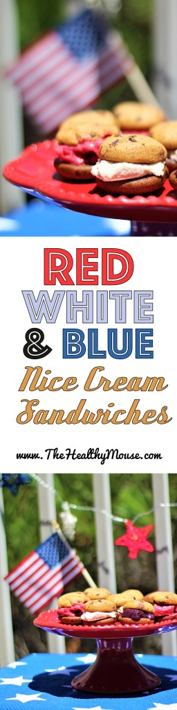 Eat Freely this 4th of July with Gluten-free red, white, and blue nice cream sandwiches! Healthy 4th of July - 4th of July Dessert - Red, White, and Blue Dessert - #EatFreely AD