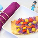 Have a colorful, fun, and healthy lunch with these Aladdin inspired magic carpet naan pizzas! - Disney Food - Disney Family - Aladdin Food - Aladdin Recipe