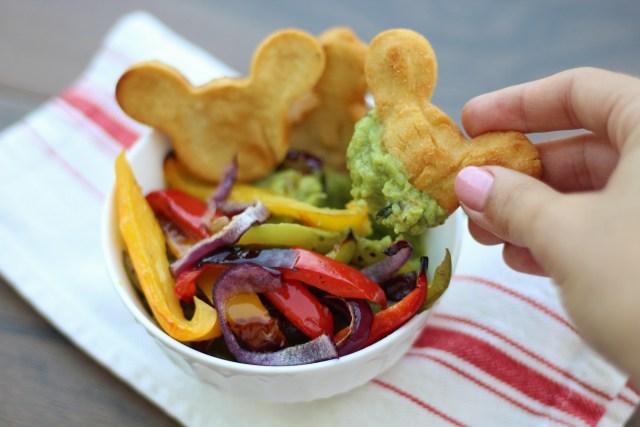 Gluten-free Mickey shaped chips! Corn chips paired with guacamole and fajita veggies!