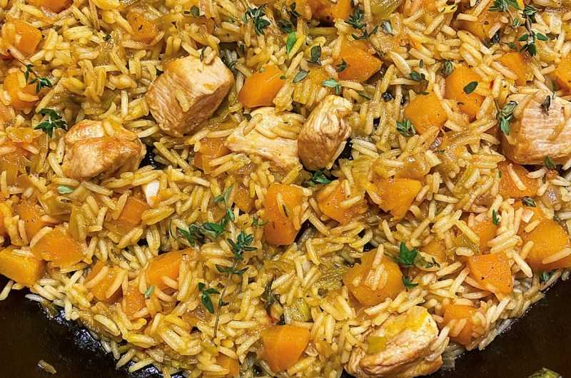 One-pot Chicken, Butternut Squash and Rice