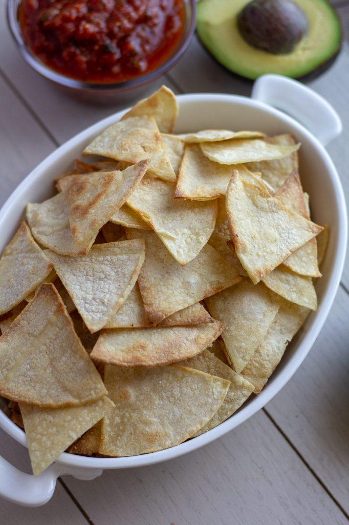 Bowl of homemade tortilla chips