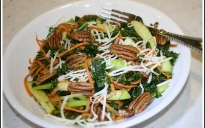 Kale and Green Apple Salad with Carrots and Cheddar Cheese
