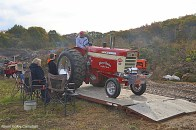 Before competing all tractors head to the portable weigh station